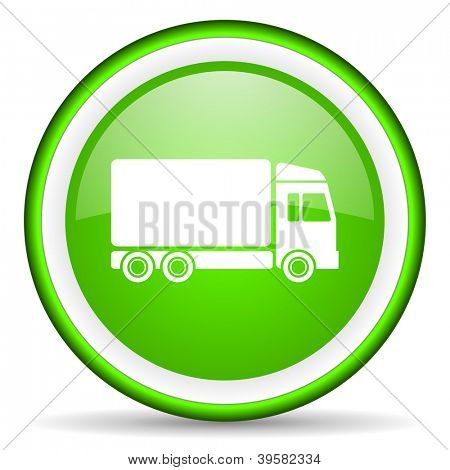 delivery green glossy icon on white background