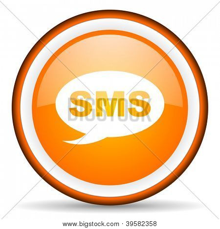 sms orange glossy circle icon on white background