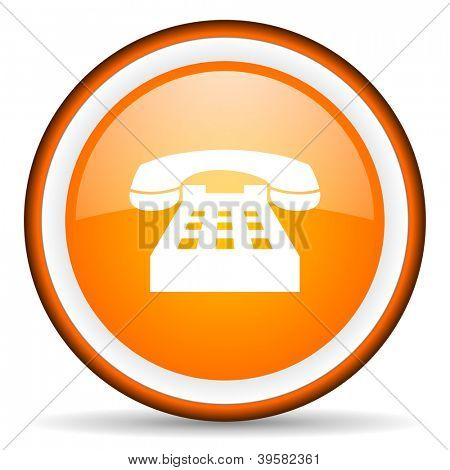 telephone orange glossy circle icon on white background