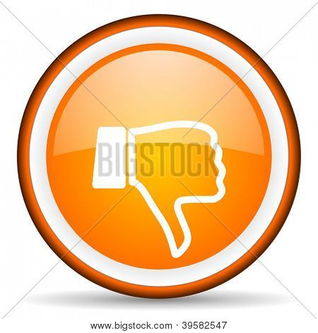 thumb down orange glossy circle icon on white background