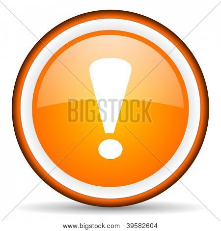 exclamation sign orange glossy circle icon on white background