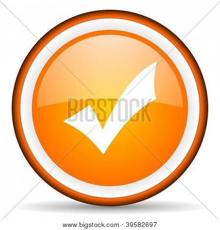 accept orange glossy circle icon on white background