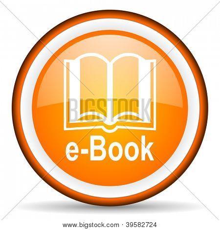 e-book orange glossy circle icon on white background