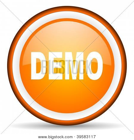 demo orange glossy circle icon on white background