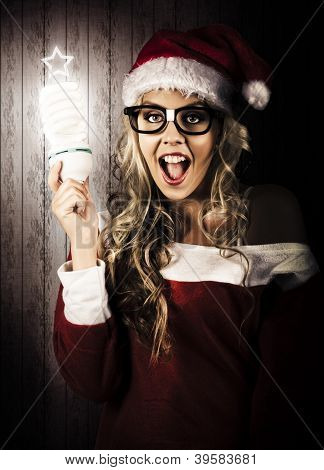 Smart Female Santa Claus With Christmas Idea