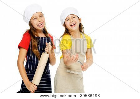 child chef girl cooks friends playing kitchen together having fun isolated on white background.