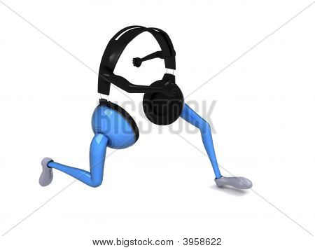Side View Of Three Dimensional Running Headphone