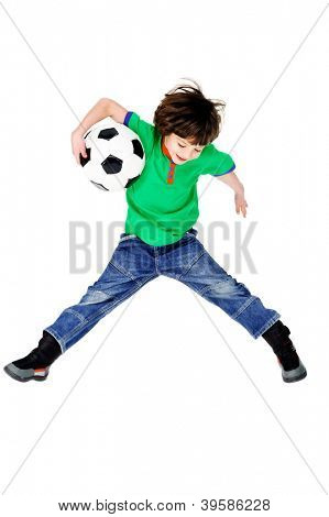 little soccer player boy with ball having fun isolated on white background