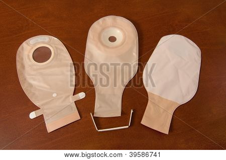 Three Ostomy Bags