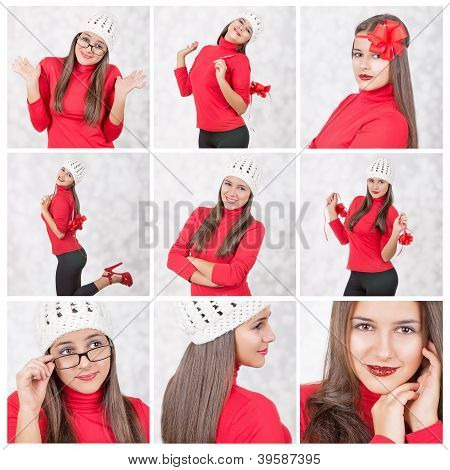 Collage of a beautiful Christmas woman in red