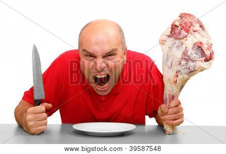 Angry hungry man (boss) with knife and raw bloody meat.  Downsizing metaphor.