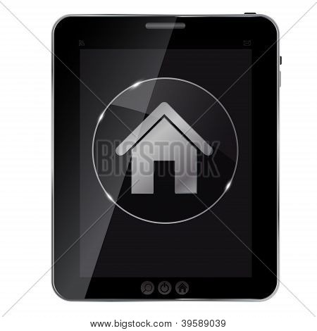 Glass home button icon on abstract tablet. Vector illustration..