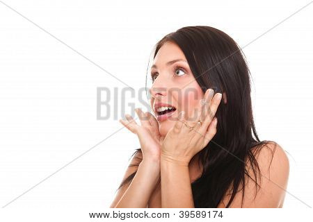 Bright Picture Of Pretty Woman Astonished With Hands Over Mouth