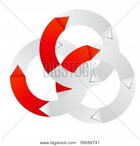 Concept of colorful circular banner with arrows for different business design. Vector illustration