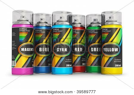 Color spray paint cans