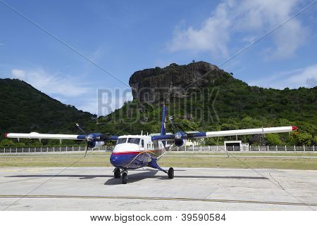 Small plane ready to take off at St. Barths airport, French West Indies