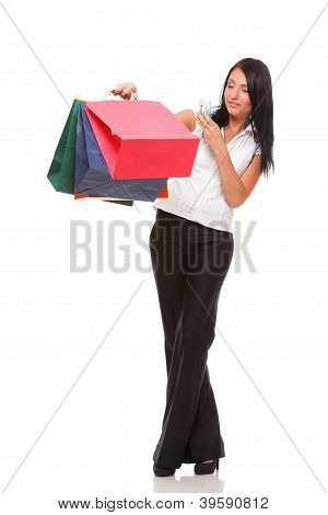 Portrait Cute Young Woman Mobile Phone While Holding Shopping Ba