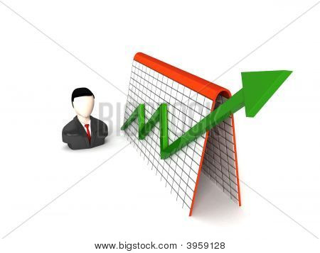 Three Dimensional Businessman And Profit Graph