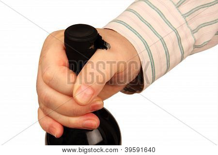 Bottle Of Wine In A Man's Hand