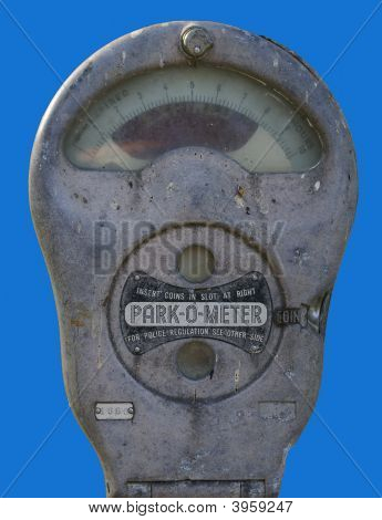 Parking Meter On Blue