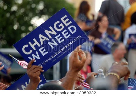 Signs At An Obama Rally