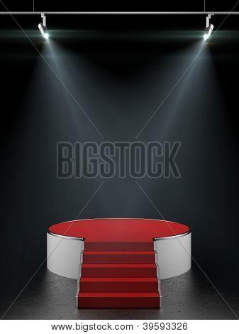 Empty white podium isolated on black