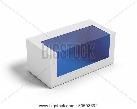 Cardboard Box with a transparent plastic window.
