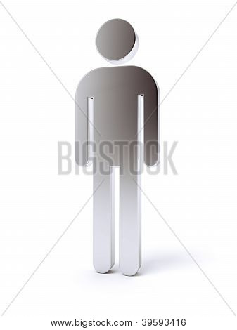 Silver blank human icon 3d