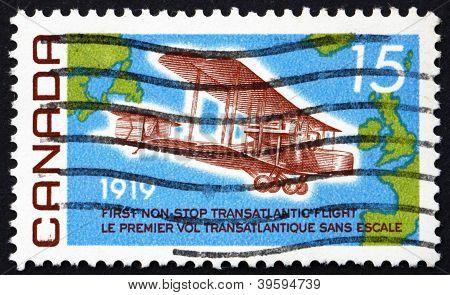 Estampilla Canadá 1969 Vickers Vimy, 1919, mapa de Atlántico