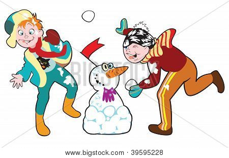 Boys Playing With Snowballs