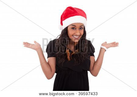 Young African American Woman Wearing A Santa Hat