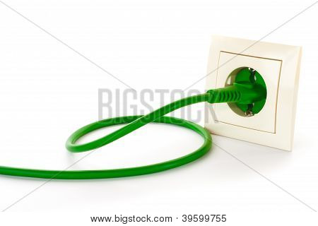 Green Power Plug Into Power Outlet