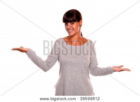 Charming Young Woman With The Palms Upward