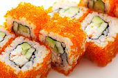 image of masago  - California Maki Sushi with Masago   - JPG