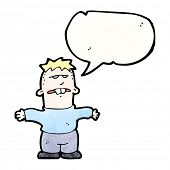 picture of buck teeth  - cartoon ugly boy with speech bubble - JPG