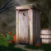 stock photo of outhouse  - A forest outhouse amidst a garden at night - JPG