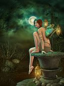 stock photo of pixie  - a little pixie sitting on a pedestal of stone - JPG