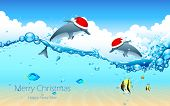 picture of dolphin  - illustration of dolphin couple wearing Santa cap celebrating Christmas - JPG