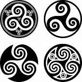 image of triskele  - Set of black isolated celtic symbols  - JPG