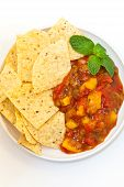 image of chipotle  - Delicious Peach Mango Salsa with chipotle Chips - JPG