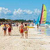 VARADERO,CUBA-NOVEMBER 4:Tourists enjoying the beach November 4,2012 in Varadero.With 50 hotels and