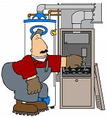 picture of hvac  - This illustration depicts an HVAC technician working on a gas furnace - JPG