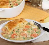 foto of biscuits gravy  - Chicken pot pie with carrots peas and biscuit - JPG