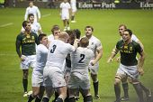 TWICKENHAM LONDON - NOVEMBER 23: English player Fight with South African at England vs South Africa,