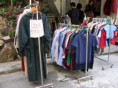 stock photo of barter  - an outdoor bargain sale - JPG