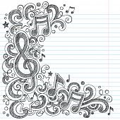 stock photo of g clef  - I Love Music Back to School Sketchy Notebook Doodles with Music Notes and Swirls - JPG