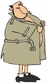 picture of pervert  - This illustration depicts a man wearing an open raincoat and nothing else but shoes and socks - JPG