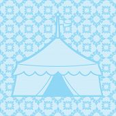 image of tarp  - Vintage antique vector illustration with a patterned background and a silhouette of a circus tent - JPG
