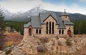 foto of rocky-mountains  - The Colorado Rockies backdrop a lonely stone church - JPG