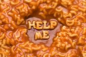 image of ou  - This image shows a message spelled ou tin pasta - JPG